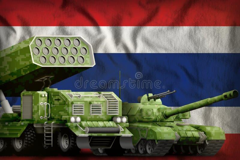 Βαριά στρατιωτική έννοια τεθωρακισμένων οχημάτων της Ταϊλάνδης στο υπόβαθρο εθνικών σημαιών τρισδιάστατη απεικόνιση ελεύθερη απεικόνιση δικαιώματος