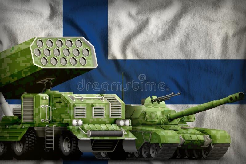 Βαριά στρατιωτική έννοια τεθωρακισμένων οχημάτων της Φινλανδίας στο υπόβαθρο εθνικών σημαιών r διανυσματική απεικόνιση