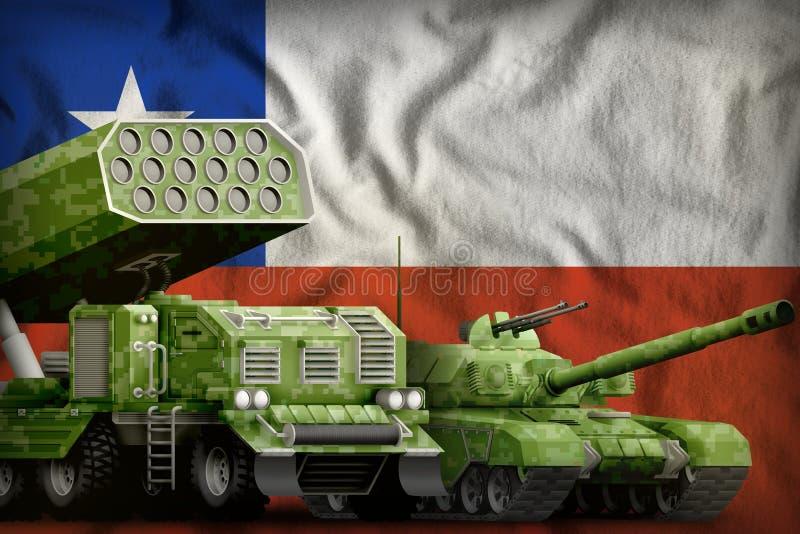 Βαριά στρατιωτική έννοια τεθωρακισμένων οχημάτων της Χιλής στο υπόβαθρο εθνικών σημαιών τρισδιάστατη απεικόνιση ελεύθερη απεικόνιση δικαιώματος