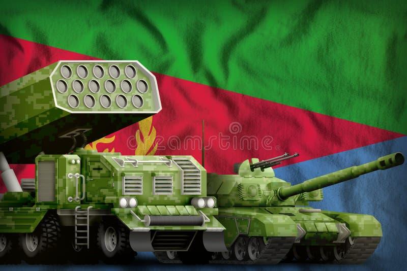 Βαριά στρατιωτική έννοια τεθωρακισμένων οχημάτων της Eritrea στο υπόβαθρο εθνικών σημαιών r απεικόνιση αποθεμάτων