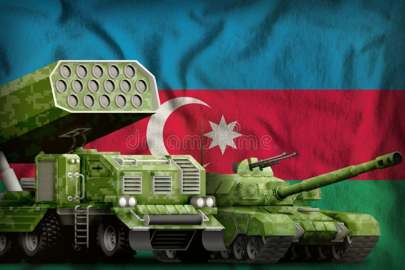Βαριά στρατιωτική έννοια τεθωρακισμένων οχημάτων του Αζερμπαϊτζάν στο υπόβαθρο εθνικών σημαιών τρισδιάστατη απεικόνιση ελεύθερη απεικόνιση δικαιώματος