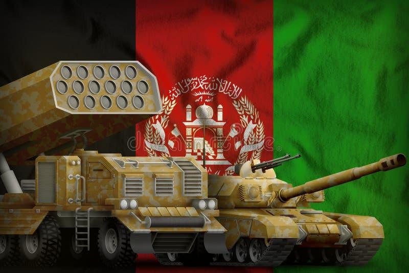Βαριά στρατιωτική έννοια τεθωρακισμένων οχημάτων του Αφγανιστάν στο υπόβαθρο εθνικών σημαιών τρισδιάστατη απεικόνιση διανυσματική απεικόνιση
