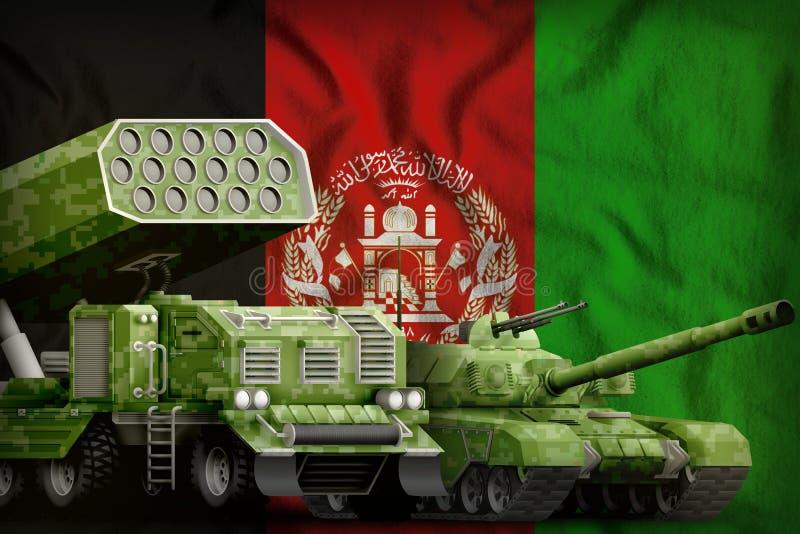 Βαριά στρατιωτική έννοια τεθωρακισμένων οχημάτων του Αφγανιστάν στο υπόβαθρο εθνικών σημαιών τρισδιάστατη απεικόνιση απεικόνιση αποθεμάτων