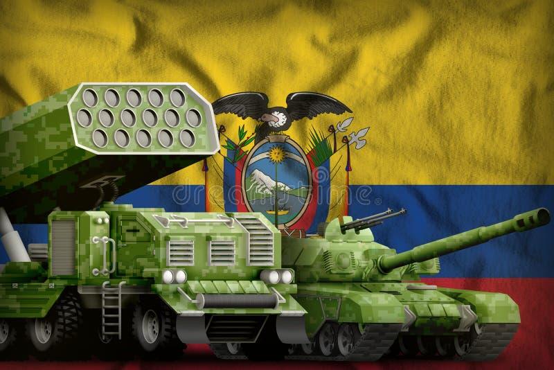 Βαριά στρατιωτική έννοια τεθωρακισμένων οχημάτων του Ισημερινού στο υπόβαθρο εθνικών σημαιών r διανυσματική απεικόνιση
