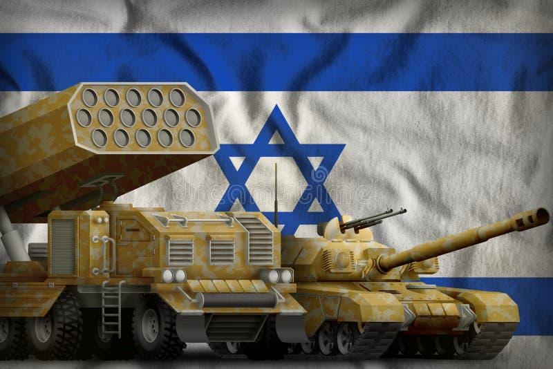 Βαριά στρατιωτική έννοια τεθωρακισμένων οχημάτων του Ισραήλ στο υπόβαθρο εθνικών σημαιών τρισδιάστατη απεικόνιση ελεύθερη απεικόνιση δικαιώματος