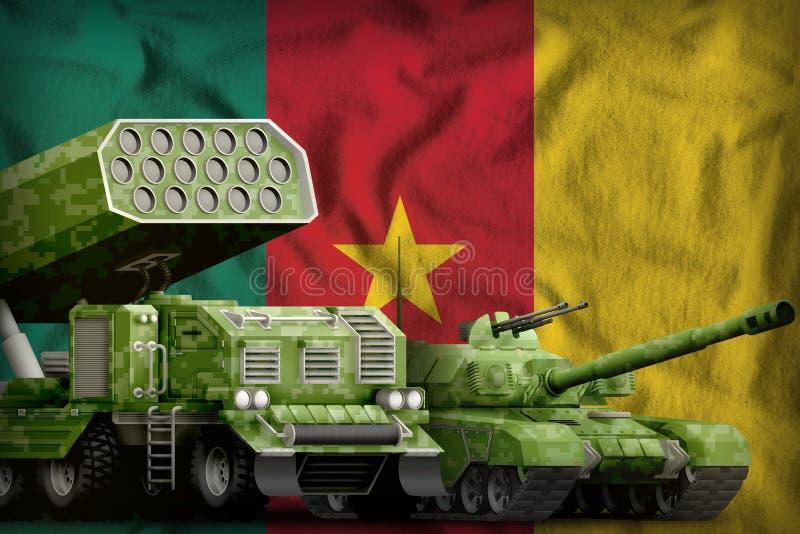 Βαριά στρατιωτική έννοια τεθωρακισμένων οχημάτων του Καμερούν στο υπόβαθρο εθνικών σημαιών τρισδιάστατη απεικόνιση απεικόνιση αποθεμάτων