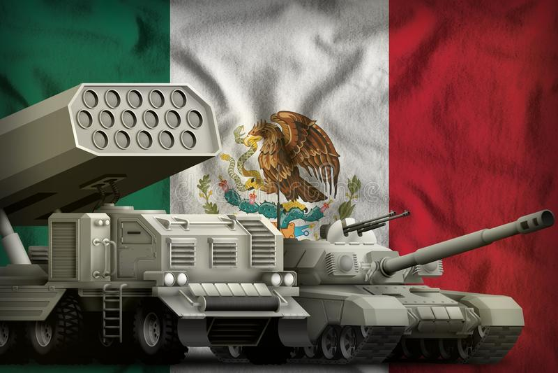 Βαριά στρατιωτική έννοια τεθωρακισμένων οχημάτων του Μεξικού στο υπόβαθρο εθνικών σημαιών τρισδιάστατη απεικόνιση ελεύθερη απεικόνιση δικαιώματος