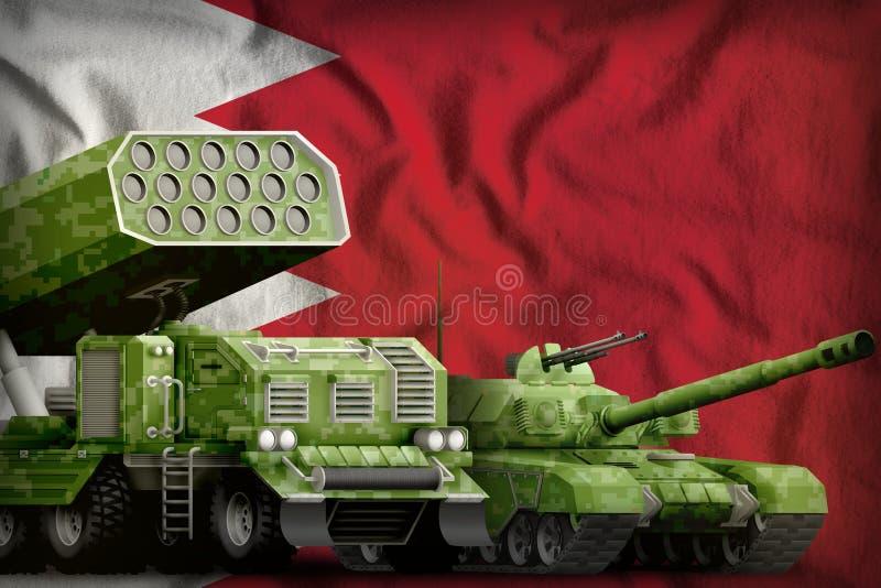 Βαριά στρατιωτική έννοια τεθωρακισμένων οχημάτων του Μπαχρέιν στο υπόβαθρο εθνικών σημαιών τρισδιάστατη απεικόνιση διανυσματική απεικόνιση