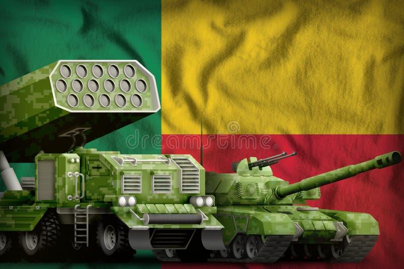 Βαριά στρατιωτική έννοια τεθωρακισμένων οχημάτων του Μπενίν στο υπόβαθρο εθνικών σημαιών τρισδιάστατη απεικόνιση διανυσματική απεικόνιση