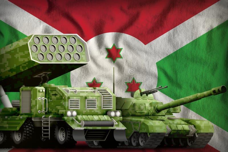 Βαριά στρατιωτική έννοια τεθωρακισμένων οχημάτων του Μπουρούντι στο υπόβαθρο εθνικών σημαιών τρισδιάστατη απεικόνιση απεικόνιση αποθεμάτων