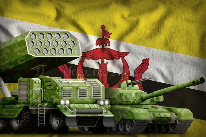 Βαριά στρατιωτική έννοια τεθωρακισμένων οχημάτων του Μπρουνέι Darussalam στο υπόβαθρο εθνικών σημαιών τρισδιάστατη απεικόνιση διανυσματική απεικόνιση