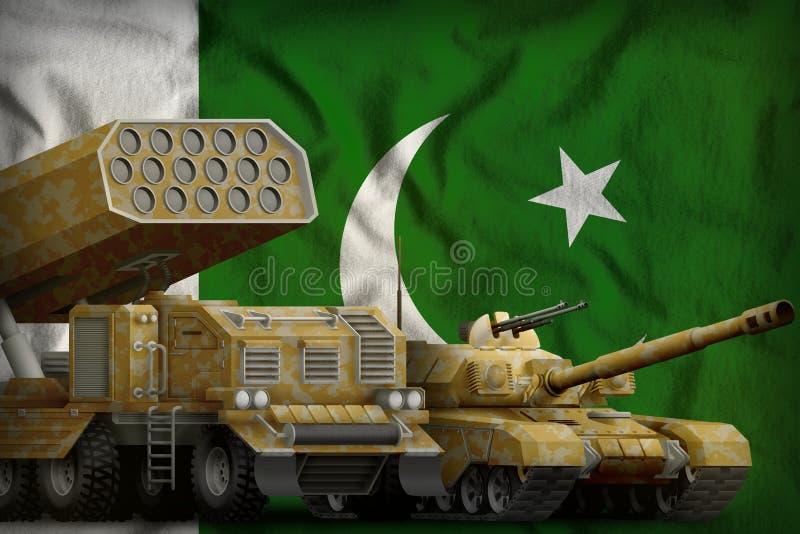 Βαριά στρατιωτική έννοια τεθωρακισμένων οχημάτων του Πακιστάν στο υπόβαθρο εθνικών σημαιών τρισδιάστατη απεικόνιση απεικόνιση αποθεμάτων