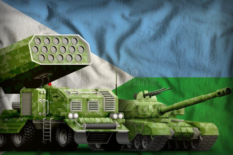 Βαριά στρατιωτική έννοια τεθωρακισμένων οχημάτων του Τζιμπουτί στο υπόβαθρο εθνικών σημαιών r ελεύθερη απεικόνιση δικαιώματος