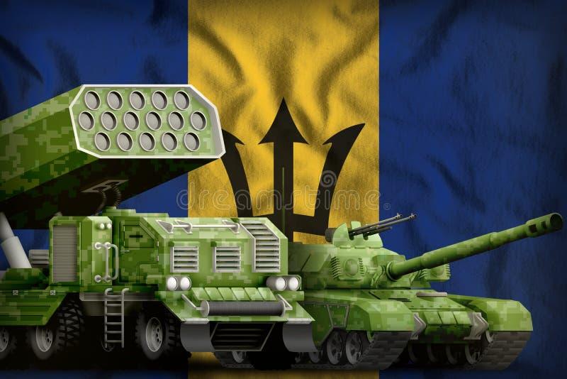 Βαριά στρατιωτική έννοια τεθωρακισμένων οχημάτων των Μπαρμπάντος στο υπόβαθρο εθνικών σημαιών τρισδιάστατη απεικόνιση ελεύθερη απεικόνιση δικαιώματος