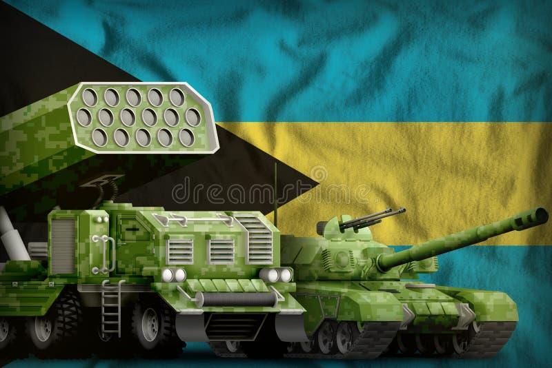 Βαριά στρατιωτική έννοια τεθωρακισμένων οχημάτων των Μπαχαμών στο υπόβαθρο εθνικών σημαιών τρισδιάστατη απεικόνιση απεικόνιση αποθεμάτων