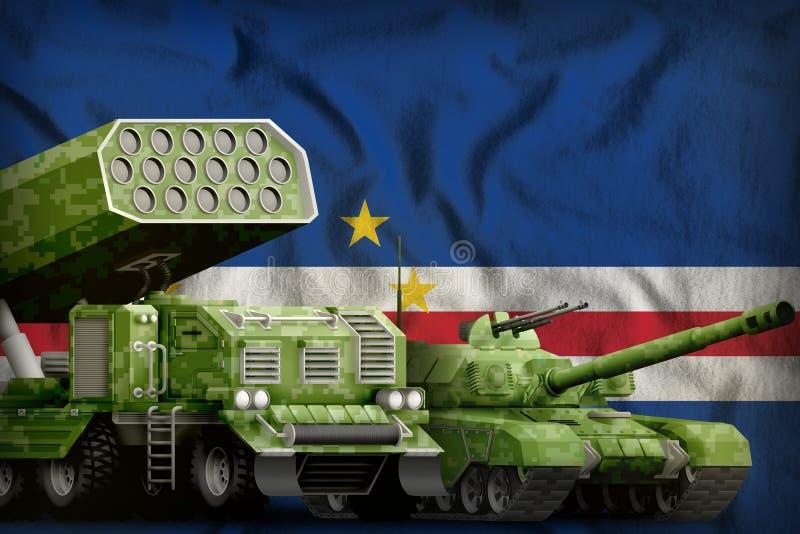 Βαριά στρατιωτική έννοια τεθωρακισμένων οχημάτων Verde Cabo στο υπόβαθρο εθνικών σημαιών r ελεύθερη απεικόνιση δικαιώματος