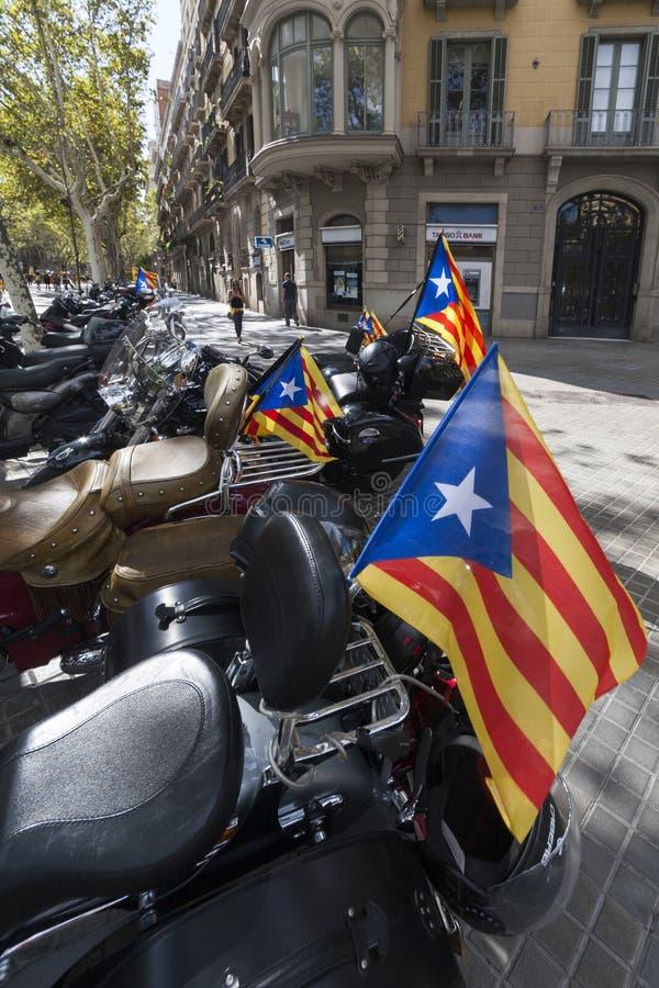 Βαρκελώνη, 11η του Σεπτεμβρίου του 2017, Ισπανία: WI μπαλτάδων motocycles στοκ εικόνα με δικαίωμα ελεύθερης χρήσης