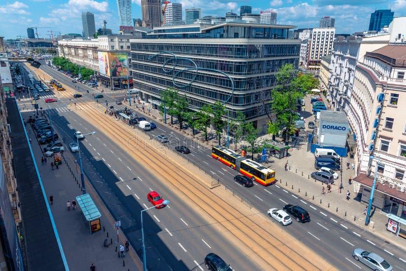 Βαρσοβία/Πολωνία - Ιούνιος 17 2018 Εναέρια άποψη σχετικά με την πόλη κεντρικός, μίγμα της σύγχρονης και παλαιάς αρχιτεκτονικής Ηλ στοκ φωτογραφία