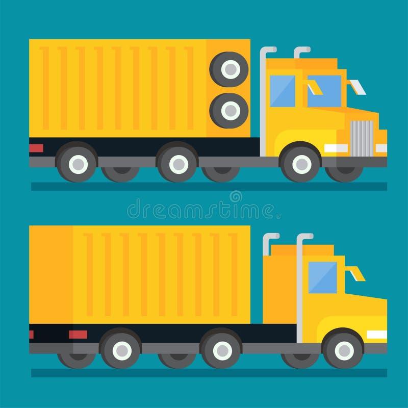 Βαρύ στέλνοντας φορτηγό μεταφορών Εικονίδιο παράδοσης μεταφορών Επίπεδη διανυσματική απεικόνιση σχεδίου απεικόνιση αποθεμάτων