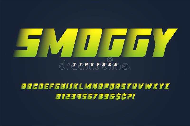 Βαρύ σχέδιο πηγών επίδειξης Smoggy, αλφάβητο, χαρακτήρας, επιστολές ελεύθερη απεικόνιση δικαιώματος