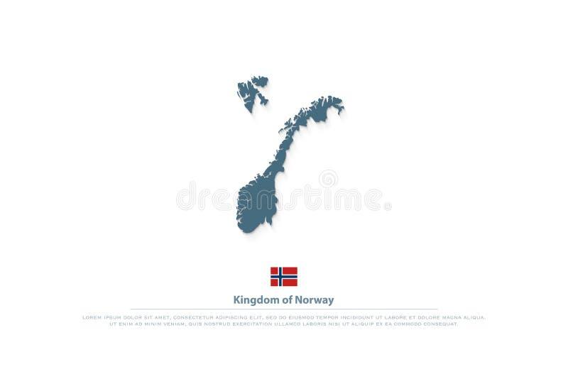 Βασίλειο απομονωμένων των η Νορβηγία χαρτών και του επίσημου εικονιδίου σημαιών ελεύθερη απεικόνιση δικαιώματος