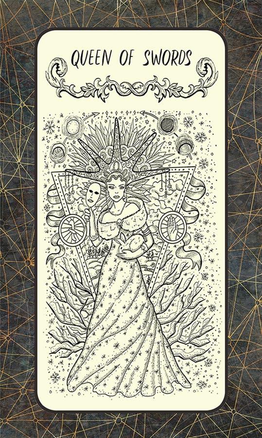 Βασίλισσα των ξιφών Η μαγική κάρτα πυλών tarot απεικόνιση αποθεμάτων