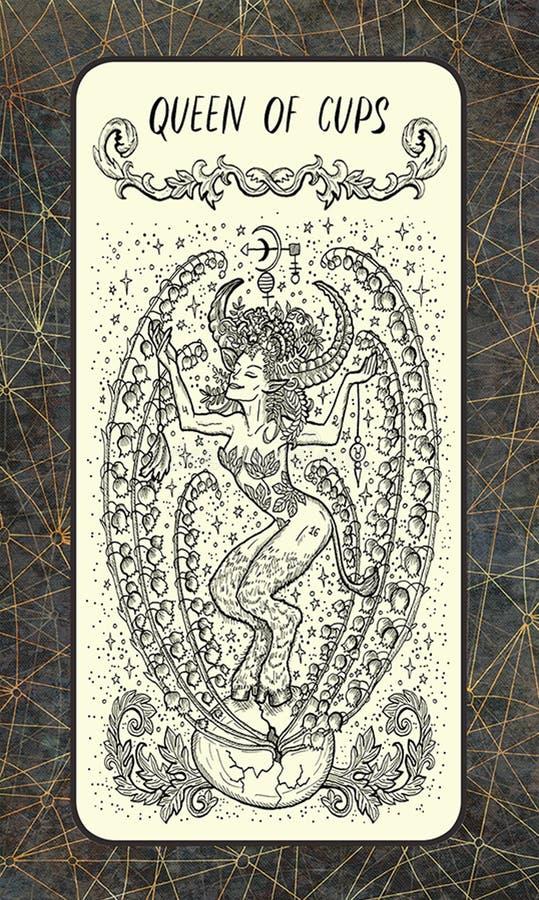 Βασίλισσα των φλυτζανιών Δευτερεύουσα κάρτα Arcana Tarot διανυσματική απεικόνιση
