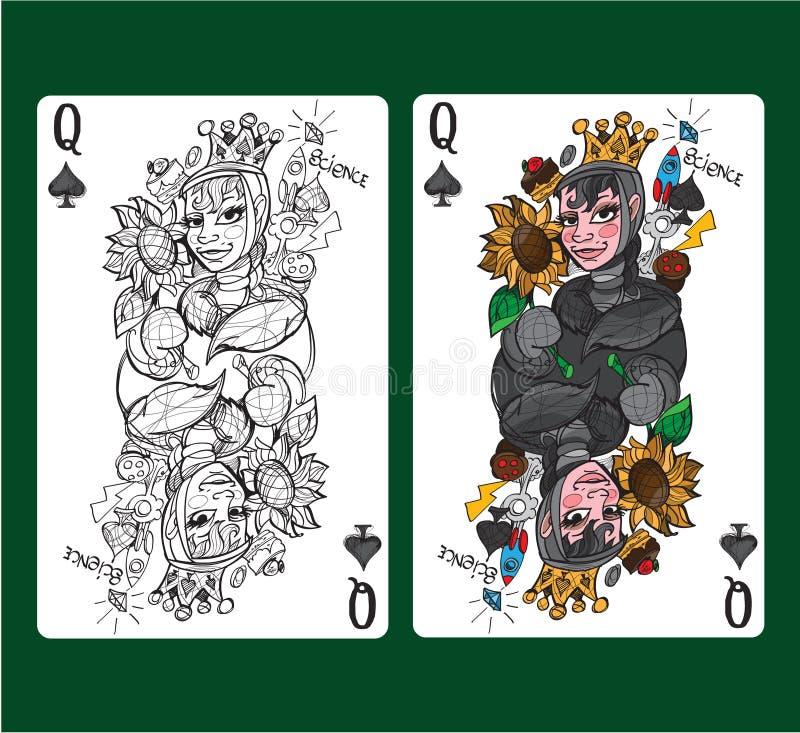 Βασίλισσα των φτυαριών που παίζει την κάρτα διανυσματική απεικόνιση