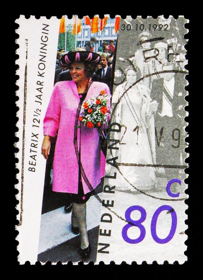 Βασίλισσα Beatrix - βασιλεψτε ιωβηλαίο, serie, circa το 1992 στοκ εικόνες