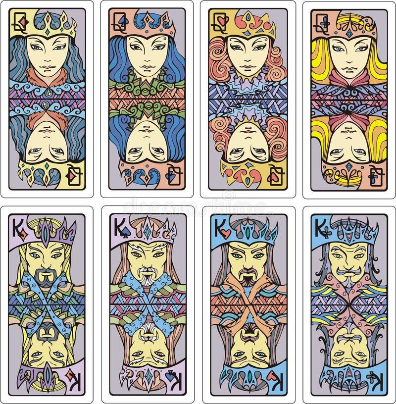 Βασίλισσες και βασιλιάδες των καρτών παιχνιδιού διανυσματική απεικόνιση