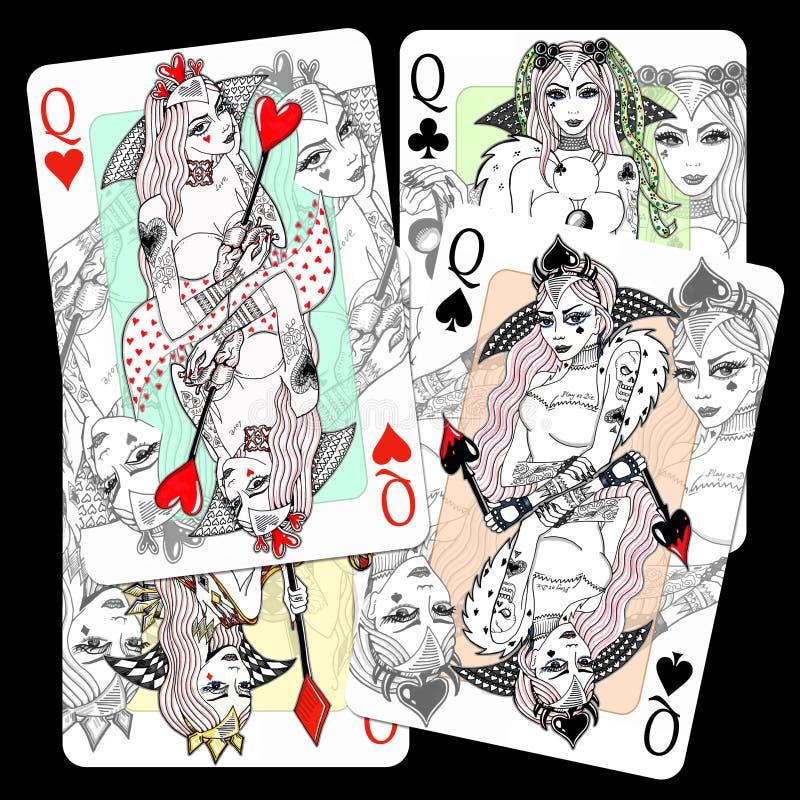 βασίλισσες Παίζοντας σχέδιο καρτών διανυσματική απεικόνιση