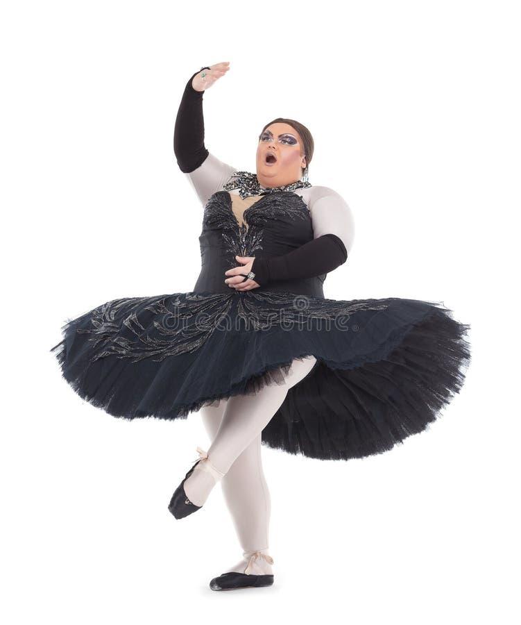 Βασίλισσα έλξης που χορεύει σε ένα tutu στοκ εικόνα με δικαίωμα ελεύθερης χρήσης