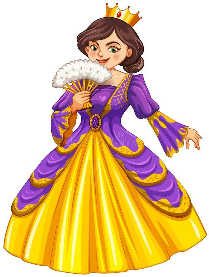 Βασίλισσα που φορά τη χρυσή κορώνα διανυσματική απεικόνιση