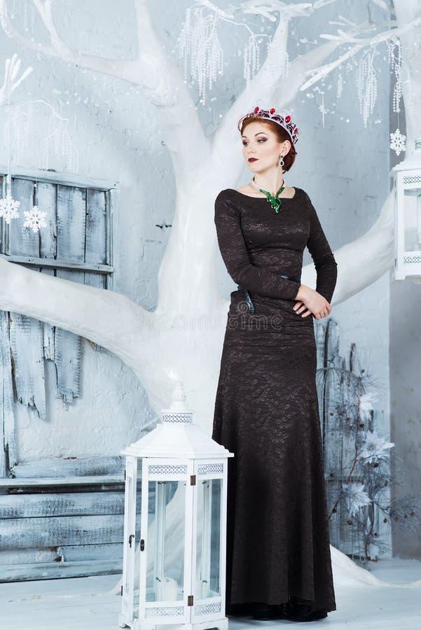 Βασίλισσα χιονιού, Δεκέμβριος Κομψή γυναίκα στο μακρύ φόρεμα Χειμώνας στοκ φωτογραφίες
