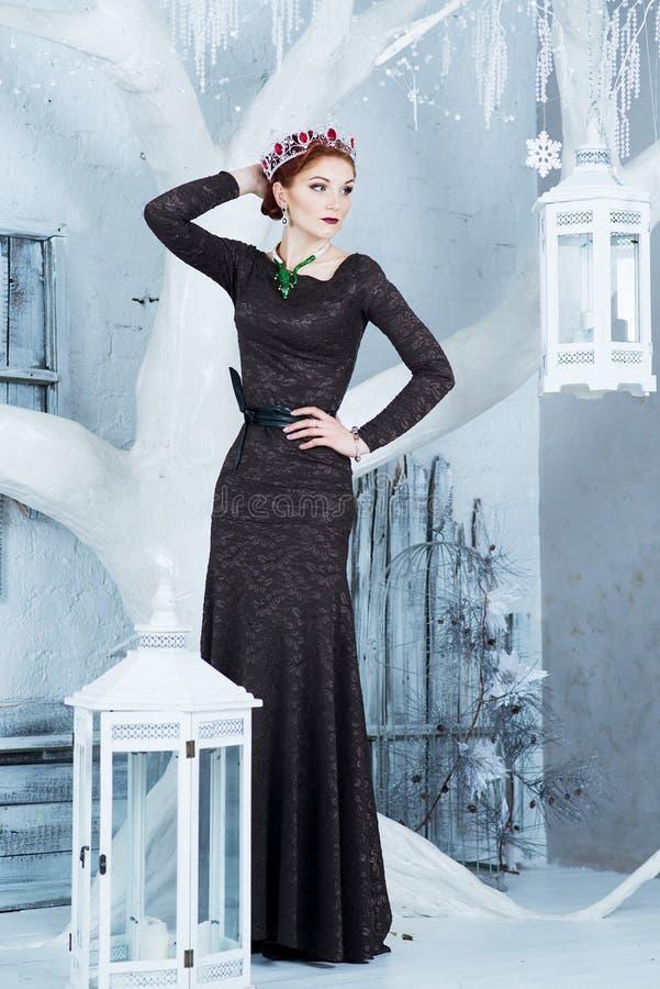 Βασίλισσα χιονιού, Δεκέμβριος Κομψή γυναίκα στο μακρύ φόρεμα Χειμώνας στοκ φωτογραφία με δικαίωμα ελεύθερης χρήσης