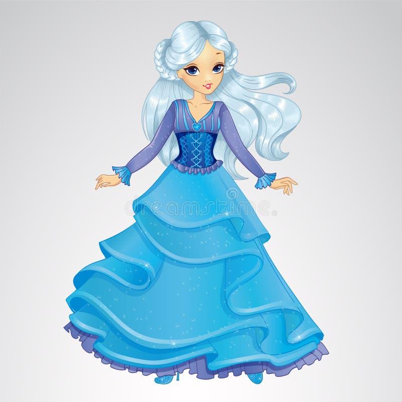 Βασίλισσα χιονιού στο μπλε φόρεμα ελεύθερη απεικόνιση δικαιώματος