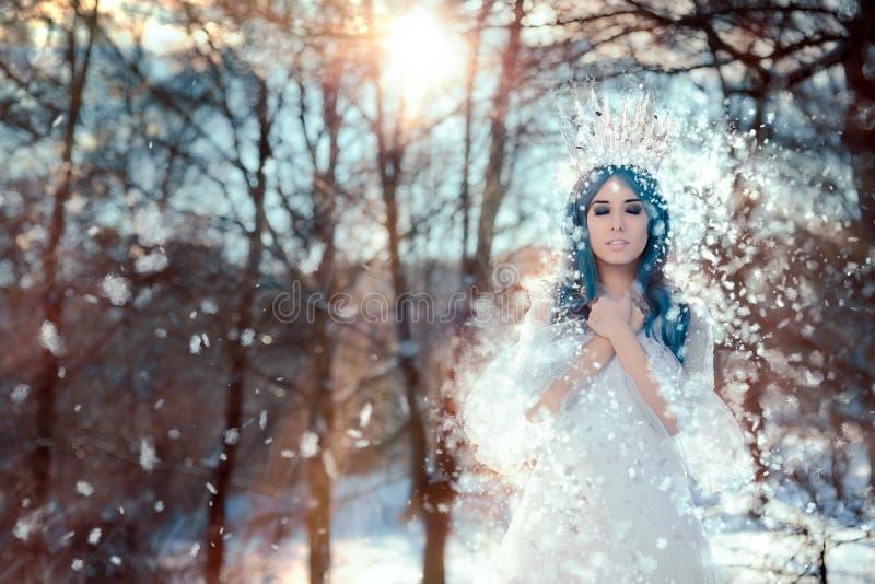 Βασίλισσα χιονιού στο τοπίο χειμερινής φαντασίας στοκ εικόνα