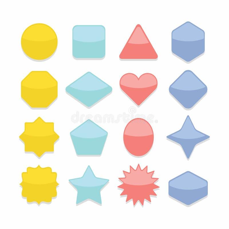 Βασικά ζωηρόχρωμα γεωμετρικά κουμπιά Ιστού μορφών καθορισμένα απεικόνιση αποθεμάτων