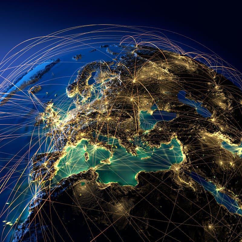 Βασικές διαδρομές αέρα στην Ευρώπη απεικόνιση αποθεμάτων