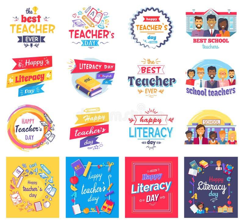 Βασική εκπαίδευση και απομονωμένες ημέρα αυτοκόλλητες ετικέττες δασκάλων καθορισμένες ελεύθερη απεικόνιση δικαιώματος
