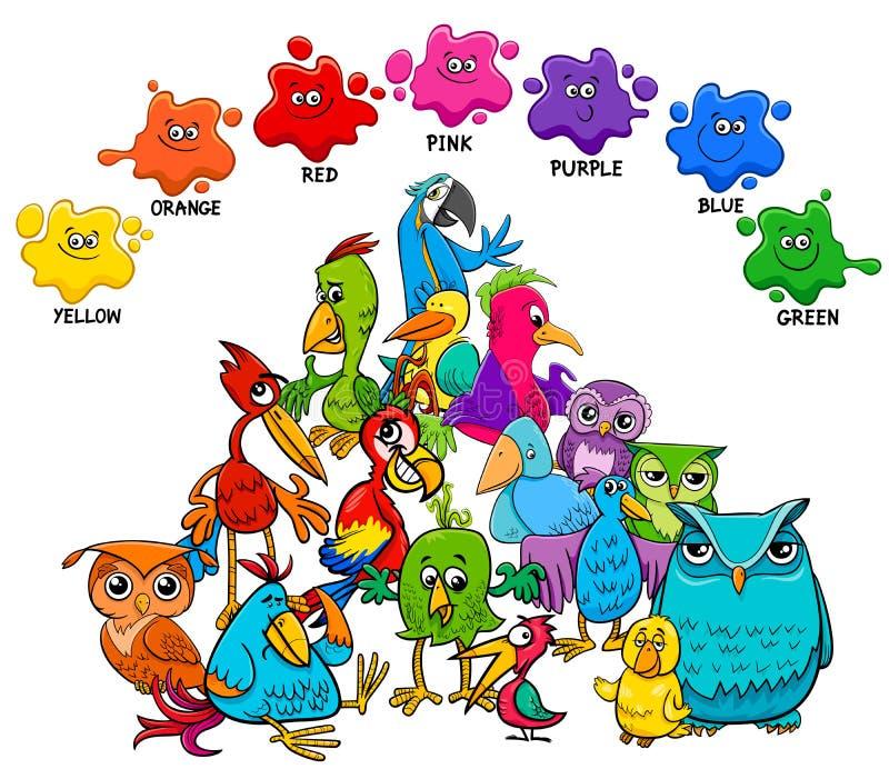 Βασική εκπαιδευτική σελίδα χρωμάτων με τα πουλιά διανυσματική απεικόνιση