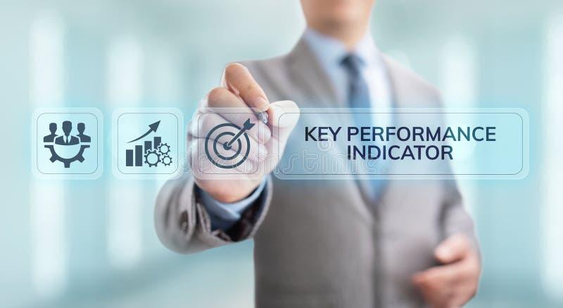 Βασική επιχείρηση δεικτών απόδοσης KPI και βιομηχανική έννοια ανάλυσης στην οθόνη ελεύθερη απεικόνιση δικαιώματος