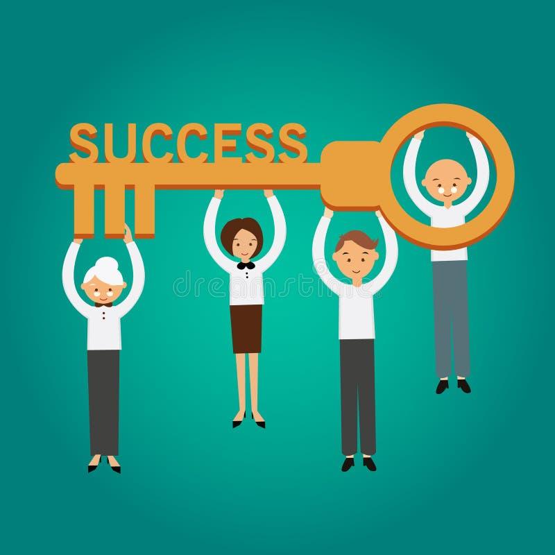 Βασική διανυσματική απεικόνιση επιχειρησιακής έννοιας επιτυχίας ελεύθερη απεικόνιση δικαιώματος