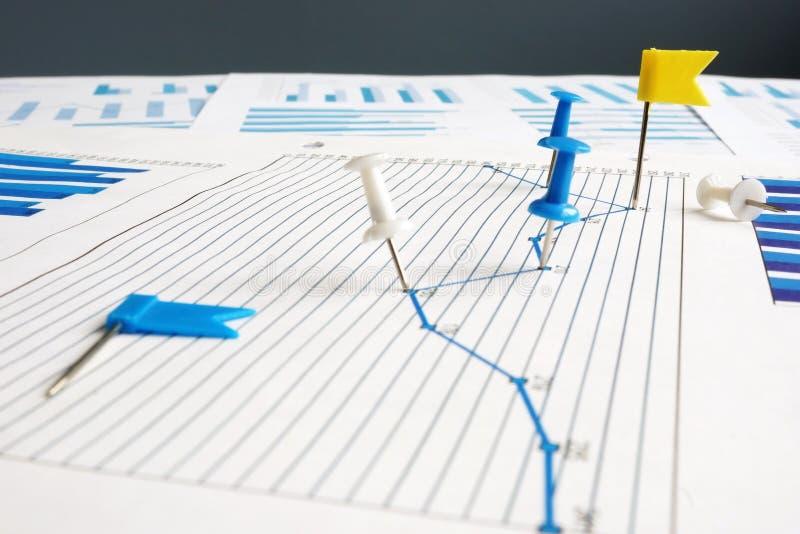 Βασικοί δείκτες απόδοσης KPI Καρφιά αντίχειρων και επιχειρησιακά έγγραφα στοκ εικόνες