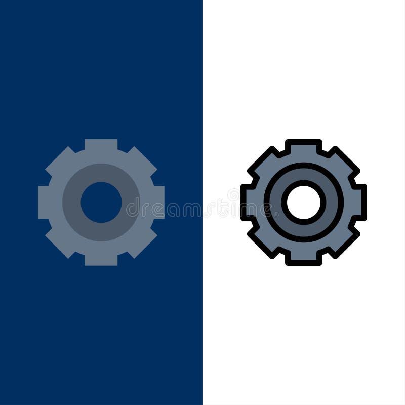 Βασικός, γενικός, εργασία, ρύθμιση, καθολικά εικονίδια Επίπεδος και γραμμή γέμισε το καθορισμένο διανυσματικό μπλε υπόβαθρο εικον διανυσματική απεικόνιση