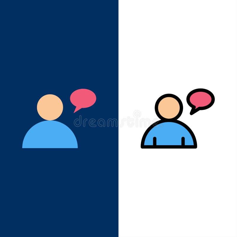 Βασικός, να κουβεντιάσει, εικονίδια χρηστών Επίπεδος και γραμμή γέμισε το καθορισμένο διανυσματικό μπλε υπόβαθρο εικονιδίων ελεύθερη απεικόνιση δικαιώματος