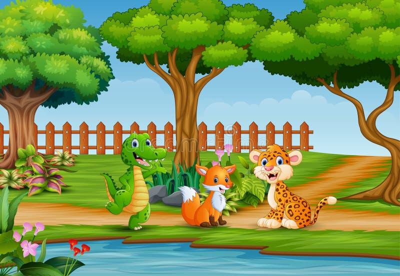 Βασικό ευτυχές άγριο ζώο στο όμορφο τοπίο απεικόνιση αποθεμάτων