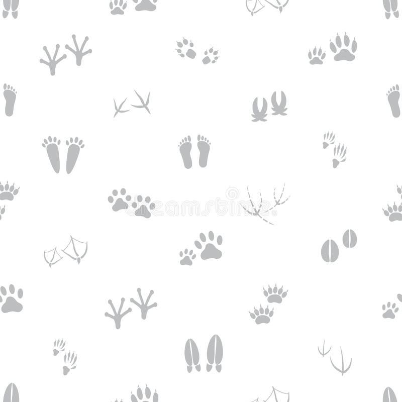 Βασικό ζωικό γκρίζο και άσπρο άνευ ραφής σχέδιο ιχνών διανυσματική απεικόνιση