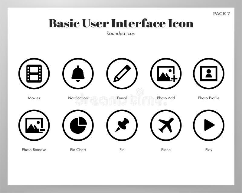 Βασικό στρογγυλευμένο εικονίδια πακέτο UI διανυσματική απεικόνιση