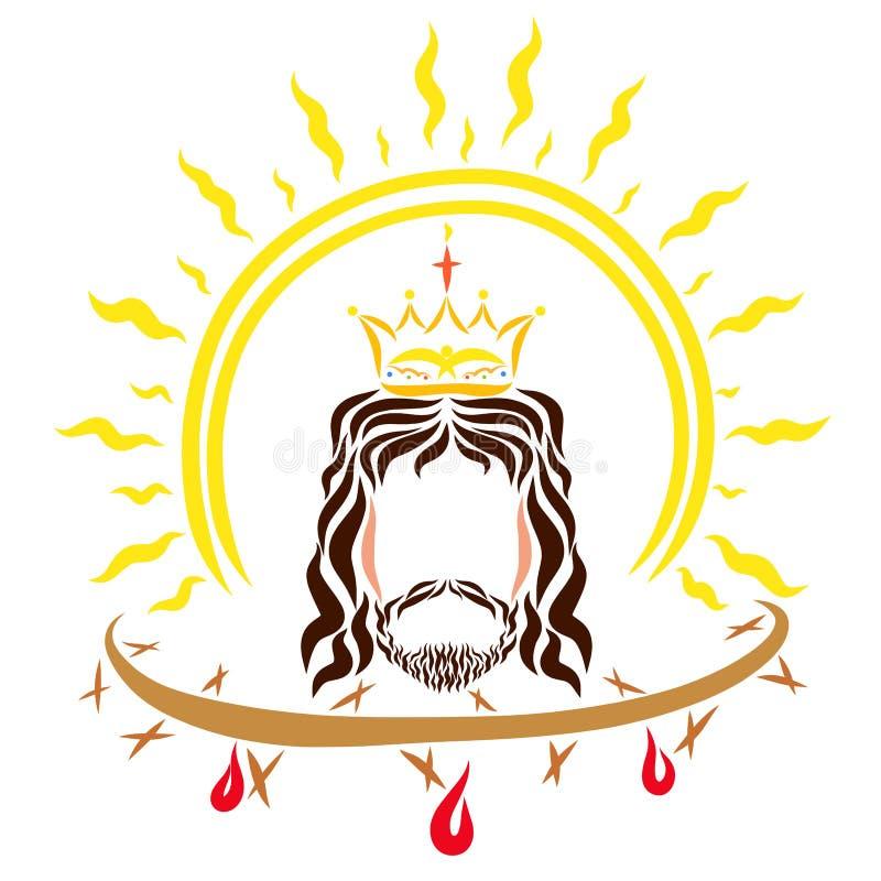 Βασιλιάς Ιησούς Χριστός, ο λάμποντας ήλιος και η κορώνα των αγκαθιών με απεικόνιση αποθεμάτων
